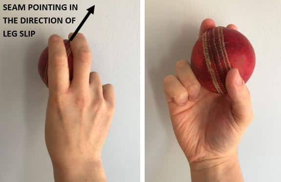 Photos showing the correct grip for an inswing delivery