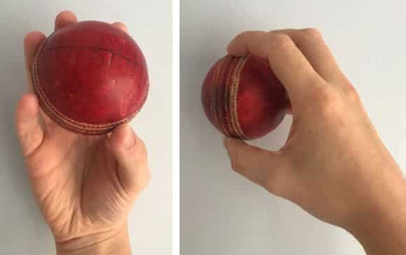 The correct grip for holding/shining the ball in between deliveries