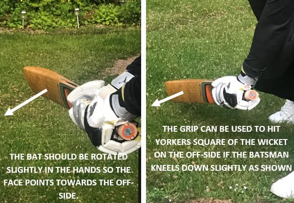 Picture showing the direction the bat face should be pointing once the batsman is using the open face grip