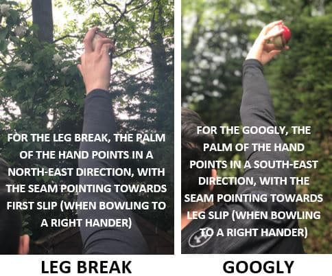 Photo comparing the actions required to bowl the leg break and the googly