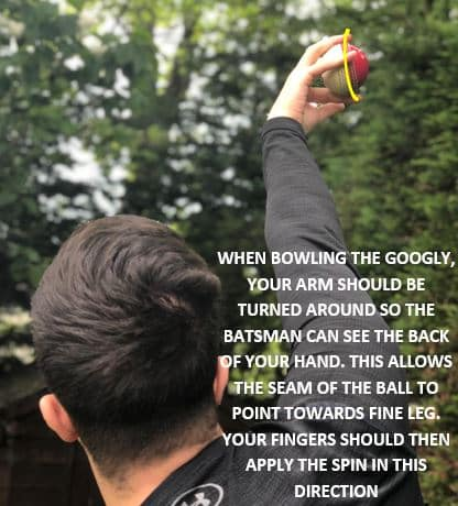Photo showing how you can bowl the googly