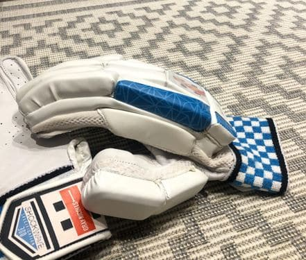 Photo showing the small protective side bar on the Gray-Nicolls Shockwave gloves