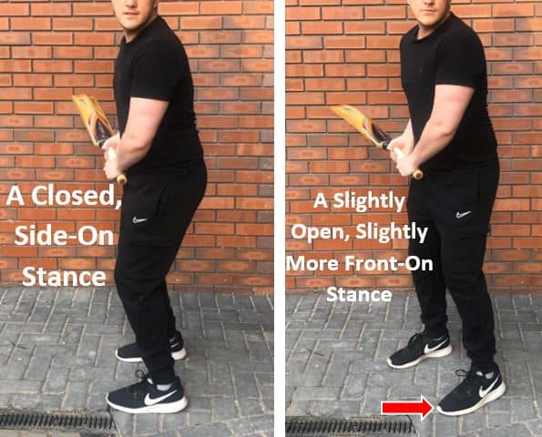Transition between a closed and an open stance for batsmen