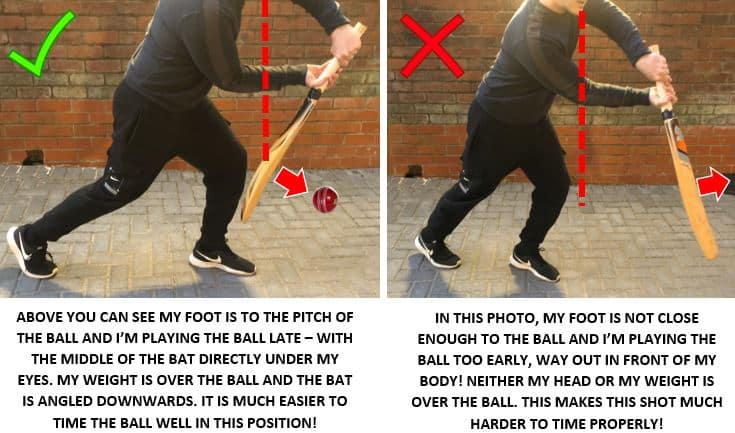 This image shows the difference between playing the ball late and playing the ball early