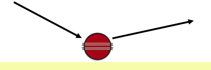 diagram showing what happens if a cricket ball lands on the smooth side