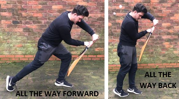 photo showing how to push all the way forwards or backwards when batting