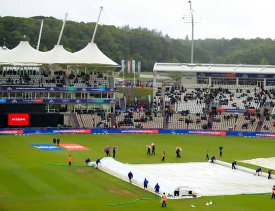 a diagram showing a cricket pitch with covers on