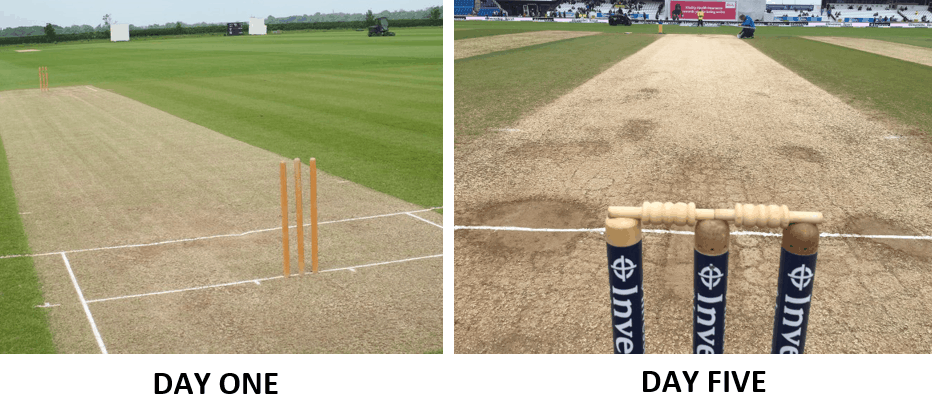 pictures showing a new cricket pitch and an old, worn cricket pitch