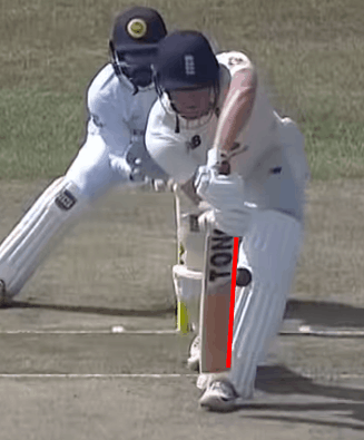 A picture demonstrating an inside edge in cricket